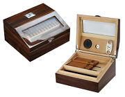 Quality 50+ Ct Count Cigar Humidor Humidifier Wooden Case Box Hygrometer 1fiv