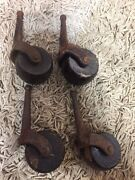 Antique - Iron Furniture Casters With Wood Wheels - 19th Century 1800's Wow