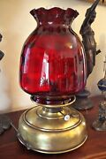 Antique Victorian Oil Kerosene Heater Lamp With Large Cranberry Glass Shade