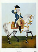 General Washington On A White Charger 1985 Aaron Ashley Folk Collograph Oop