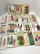 Vintage 1960s 70s 80s Simplicity Mccalls Clothing Patterns Lot Of 18