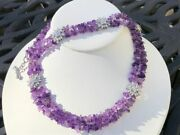 Suzanne Somers Sterling Silver Amethyst Chip And Cz Necklace And Bracelet Set