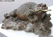8 Chinese Bronze Wealth Yuanbao Money Coin Three Foot Golden Toad Spittor Statue