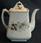 Antique 1880s Powell And Bishop White Ironstone Square Ridged Teapot England