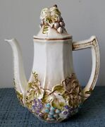 Glazed Ceramic Coffee Pot / Tea Pot With Lid Raised Grapes And Leaves 3028