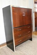 Milo Baughman Rosewood-chrome And Black Lacquer Mcm Highboy/tallboy