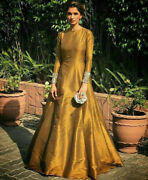 Golden Evening Dress Indian Pakistani Designer Wedding Gowns Party Wear Outfits