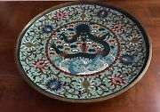 Rare Qing 10 Ming Or Ming-style Chinese Cloisonne Dragon And Lotus Charger Stand
