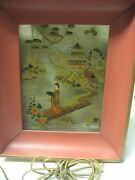 Beautiful Vintage Chinese Reverse Glass Painting Of A Lady With Fan, With Light