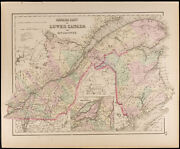 Carte Ancienne [1857,colton] Bas Canada And New Brunswick. Antique Map Montreal