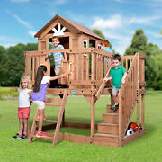 Outdoor Elegant Playhouse Wooden Cedar Pretend Play Kitchen Wood Cot Toy-boxes