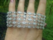 Suzanne Somers Sterling Silver Wide Art Deco Style Cubic Zirconia Bracelet