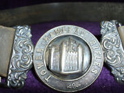 Rare Victorian Silver Tower Hamlets Rifles Officers Belt Buckle And Belt/militaria