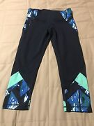 Zella Workout Yoga Pants Leggings With Mesh - Navy Blue / Blue / Green - Small