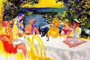 Leroy Neiman Wine Alfresco Hand Signed/numbered Serigraph Dining Outdoors