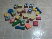 Blocks Toy Wooden Antique 25 Total 13 With Letters Clean In Good Condition