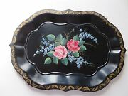 Vintage Black Hand Painted Flowers Signed Tole Tray 18 X 13