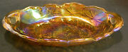 Vintage Embossed Iridescent Marigold Sunflower Carnival Glass Relish Tray Excell