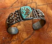 Collectors Rare Old Native American Sterling Turquoise Navajo Bracelet 1920-30s