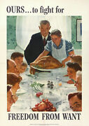 Norman Rockwell Vtg Wwii 1943 Four Freedoms War Bonds Poster Freedom From Want