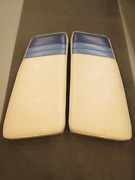 1988 Sea Ray Sorrento 23 Port And Stbd Bow Seat Cushion White And Light Blue And Blue