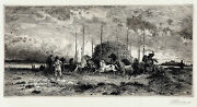 Peter Moran Signed And Very Rare 19thc 1882 Etching Harvest In San Juannew Mexico