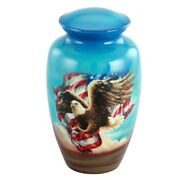 Large/adult 210 Cubic Inch Metal American Eagle And Flag Funeral Cremation Urn