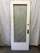 Full Glass Salvaged Wood Door Beveled Privacy Glass Architectural Vintage 32x83