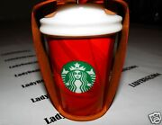 Starbucks 2014 Red Cup Starburst Design Ornament - New - Ships Free In Box