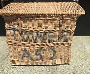 Vintage Large Military Cargo Wicker Basket With Lid