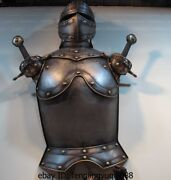 China White Copper Europe Warrior Knight Armor Suit Of Armour Double Sword Set