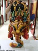 Thailand Temple Old Wood Hand Carved Color Painted Elephant God Head Statue Mask