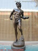 Western Bronze Marble Statue Nude David Man With Rope Decor Art Sculpture