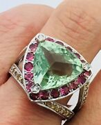 18k White 11.2g Gold With Green Amethyst And Sapphire Ring Size 10 18kw04