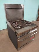 Franklin Chef Commercial H.d. Nat.gas 4 Burners Stove Range W/oven, Casters
