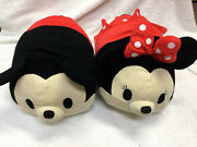 """Disney Store Mickey And Minnie Mouse Large Huge 16"""" Tsum Tsum Plush Pillow Lot Big"""