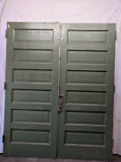 Pair Of French 6 Panel Oak Salvaged Interior Wood Doors Architectural Vintage