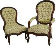 17567 Pair Of Victorian Carved Chairs Ladies And Gentlemanandrsquos