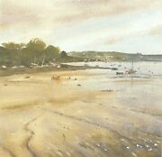 Mounted Watercolour Print. Flushing From Penryn Cornwall