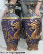 China Wire Inlay Cloisonne Enamel Pure Bronze Dragon Play Bead Flower Vase Pair
