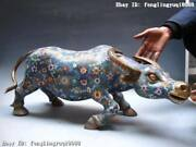 Fengshui 100 Pure Bronze Copper Cloisonne Lucky Cattle Carabao Bull Statue