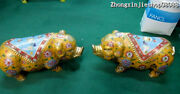 19china Sign Qing 100 Pure Bronze Gild Cloisonne Lucky Attract Wealth Pig Pair