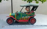 Vntg.retro Car 1910 Jalopy Mystery Action Tin Toy Battery Operated 1960and039s Japan