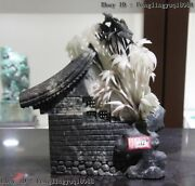 Chines Natural Dushan Jade Carving Tile-roofed House Bamboo Bird Fengshui Statue