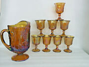 Indiana Harvest Grape Style Amber Carnival Glass Set Of Pitcher And 8 Cups 768b