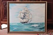 Vintage Large Oil Painting On Canvas And039clipper Arieland039 By Frederick John