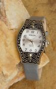 Strada Swiss Marcasite Japanese Movement Watch With Gray Band