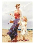 Pino Affection 40x30 Mother/child Beach Sold Out Giclee Canvas Hand Signedcoa