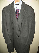 Rare Henry Poole And Co 70and039s Bespoke Mens Cashmere Herringbone Db Jacket Coat 44 R