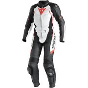 Dainese Avro D1 2-pc Womens Leather Suit White/black/fluo Red 42 Euro